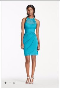 David's Bridal Malibu Sleeveless Short Mesh Dress With Side Cascade F15612 Dress