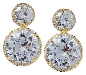 Kenneth Jay Lane CZ by Kenneth Jay Lane 14 Cttw Round Ear Pierced Round Stud Drop Round, One Size