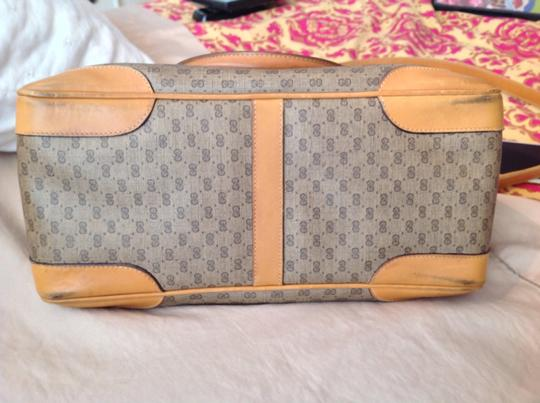 Gucci Vintage Light Canvas Micro Monogram Optional Cross Body Satchel in Browns