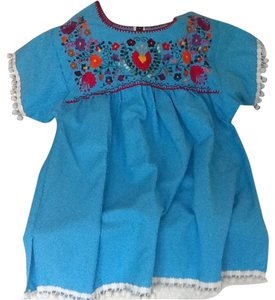 Other Pom Poms Embroidered Top Turquoise