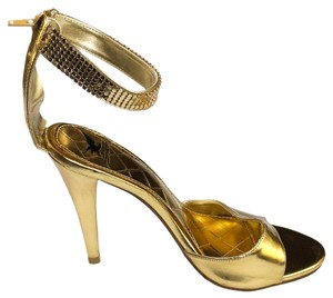 Shiekh High Ankle Strap Adjustable Fitting High Heel Gold Sandals