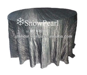 Beautiful 132' Round Pewter Crinkle Tablecloths