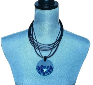 B. Makowsky B Makowsky Black Leather Choker W/Clear Resin + Blue Discs Pendant