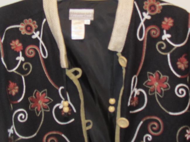 Coldwater Creek black and khaki trim w/floral embroidery Blazer