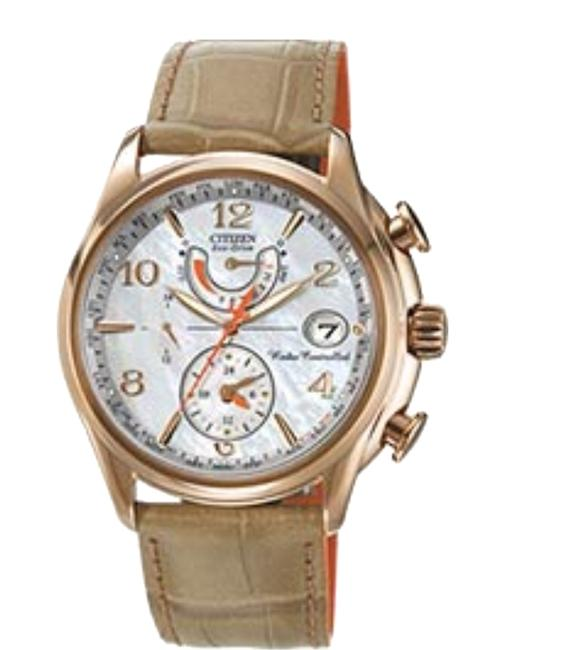 Item - Tan Eco-drive Ladies World Time At Strap Watch