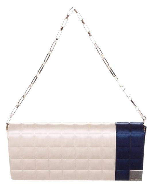 Item - Classic Flap Square Quilt Creme and Navy Blue Satin Clutch