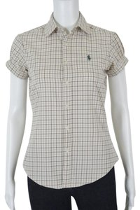 Ralph Lauren & Button Down Shirt Beige with Rust and Green Check