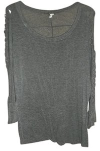 Libian Cut Out Sleeves Braided Sleeves T Shirt Gray