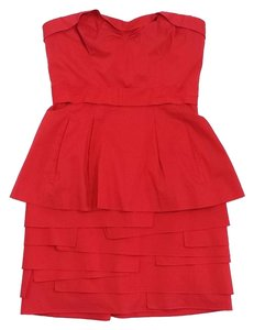 BCBGMAXAZRIA short dress Red Cotton Peplum Strapless on Tradesy