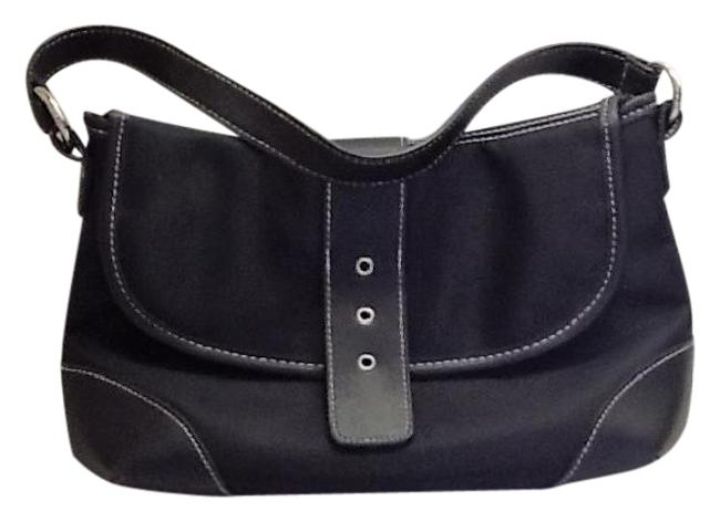 Item - Multi-use Black Nylon and Leather Baguette