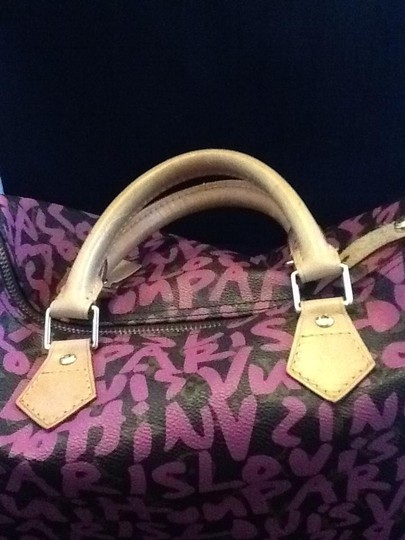 Louis Vuitton Satchel in Brown with pink graffiti