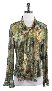St. John Green Tone Floral Silk Top
