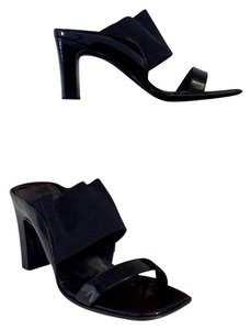 Salvatore Ferragamo Black Patent Leather Square Heels Sandals