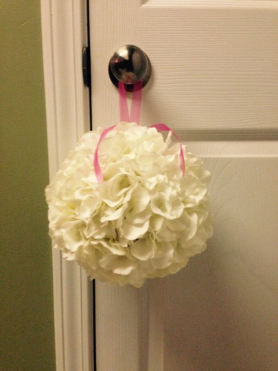 White Hydrangea with Pink Ribbon Flower Ball Reception Decoration