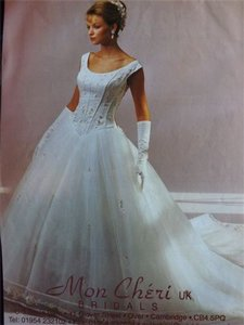 Mon Cheri Ivory Silk Tulle Embroidery 769 Traditional Wedding Dress Size 6 (S)