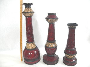Set Of 3 Stunning Metal Mosaic Tall Candle Stick Holders