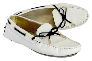 Tod's White Patent Leather Loafers Flats