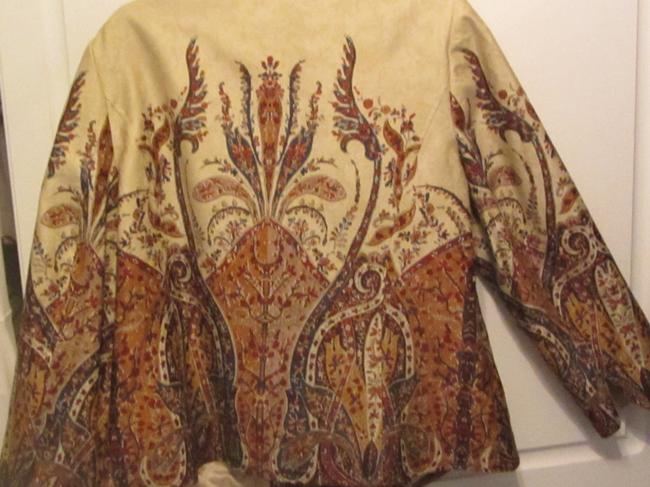 Coldwater Creek tan with floral and paisley design Jacket