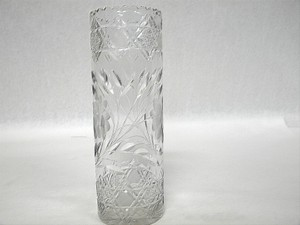 Antique Abp American Brilliant Cut Glass Crystal Floral Cut Vase
