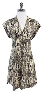 Nanette Lepore short dress Cream Tan Print Button Up on Tradesy