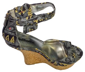 Dollhouse Multicolor High Heel Cup Padded Open Toe Charcol | Black | Gray | Brown Wedges
