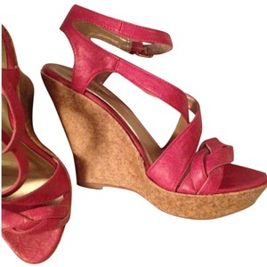 Qupid Strappy Summer Sandal High Pink Wedges