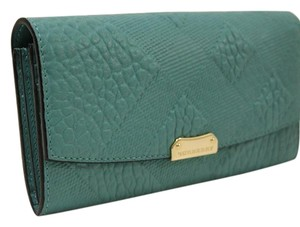 Burberry Burberry Porter Mixed Embossed Pattern Continental Wallet Aqua Green