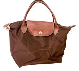 Longchamp Le Pliage Travel Foldable Satchel in Brown