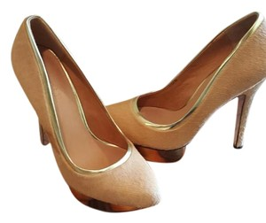 L.A.M.B. Calf Hair Gold Stiletto Pump Camel Platforms