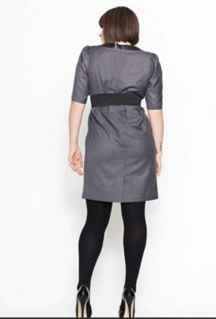 Carmakoma Leather Trim Plus Size Chic Edgy Tailored Suiting Sexy Imported New Tulip Sleeve Dress