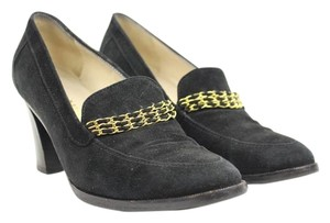 Chanel Chain 95a 1995 Rare Collectible Black Gold Pumps