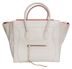 Céline Celine Phantom Leather Tote in white