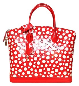 Louis Vuitton Lv Vernis Lockit Tote in red&white