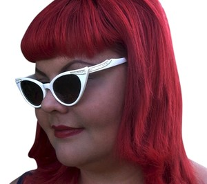 Other Rockabilly WHITE RHINESTONE CAT EYE 1960 STYLE SUNGLASSES