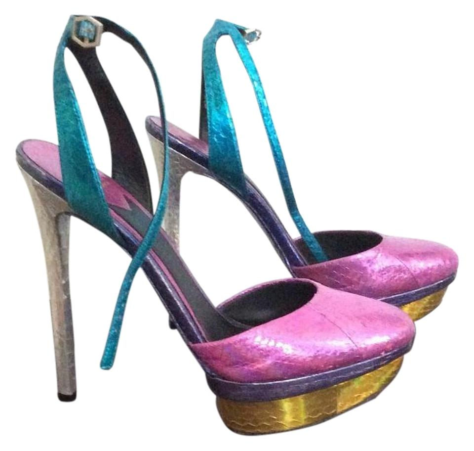 Brian Yellow Atwood Pink Purple Blue Yellow Brian Silver Fontenay Ankle Strap Platform Pumps 75bd23
