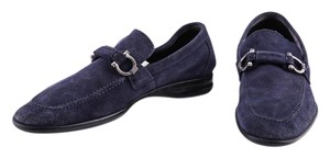 Salvatore Ferragamo Suede Loafers Mens Blue Formal