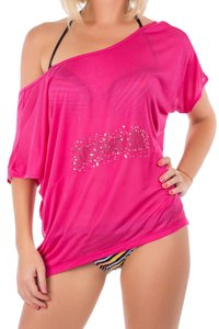 Just Cavalli Cavalli Off Scoop Neck Tee Cover-up T Shirt PInk