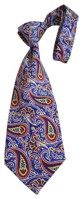 Item - Royal Blue Base Accents Of; Red Yellow & Green Multicolor Paisley Print Silk Tie