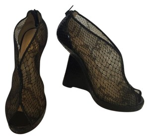 Christian Louboutin Python Wedge High Heels Black Wedges