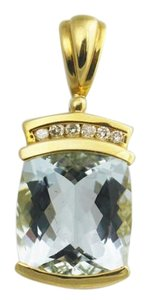 Other Aquamarine and Round Diamond Pendant in 14k Yellow Gold