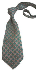 Céline Celine WOVEN ACCENTS OF COPPER RINGS VIVID GREEN SILK TIE