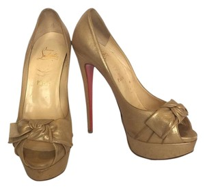 Christian Louboutin Bow Fashion Gold Pumps