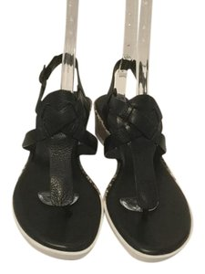 Cole Haan Snake Pattern Wedge Black leather Sandals