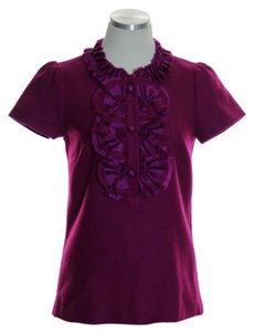 J.Crew Wool Short Sleeve Ruffle Top Purple