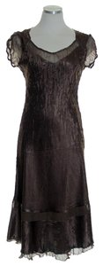 Brown Maxi Dress by Komarov Crinkle Stretch A-line