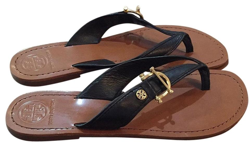 Tory Burch Black with Gold Sandals Hardware Leather Sandals Gold 126f5b