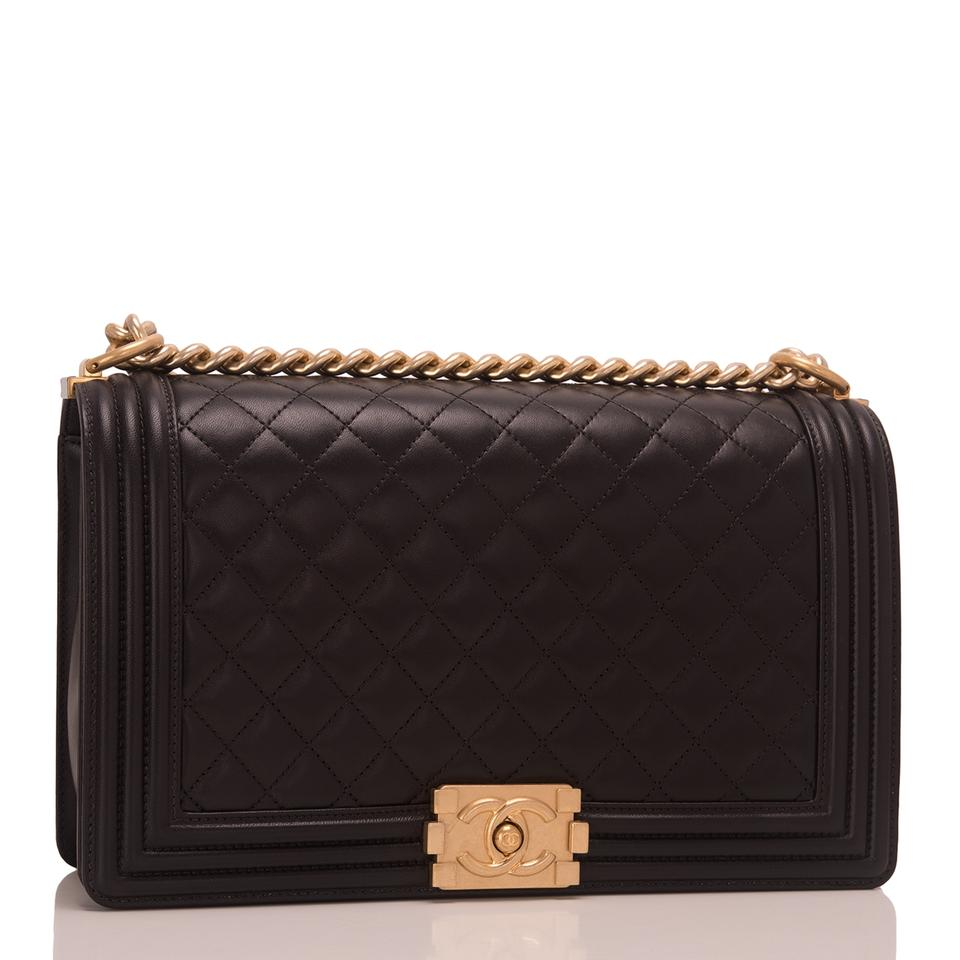 b579aae7010e Chanel Boy Quilted Lambskin New Medium Black Leather Shoulder Bag ...