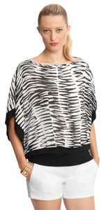 Banana Republic Sheer Dolman Printed Top Black