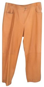 Chanel Leather Designer Vintage Straight Pants Mustard