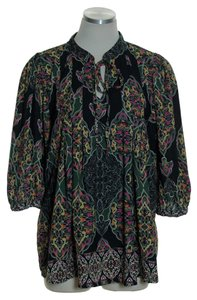Daniel Rainn Paisley Tassel 3/4 Sleeve Peasant Top Green